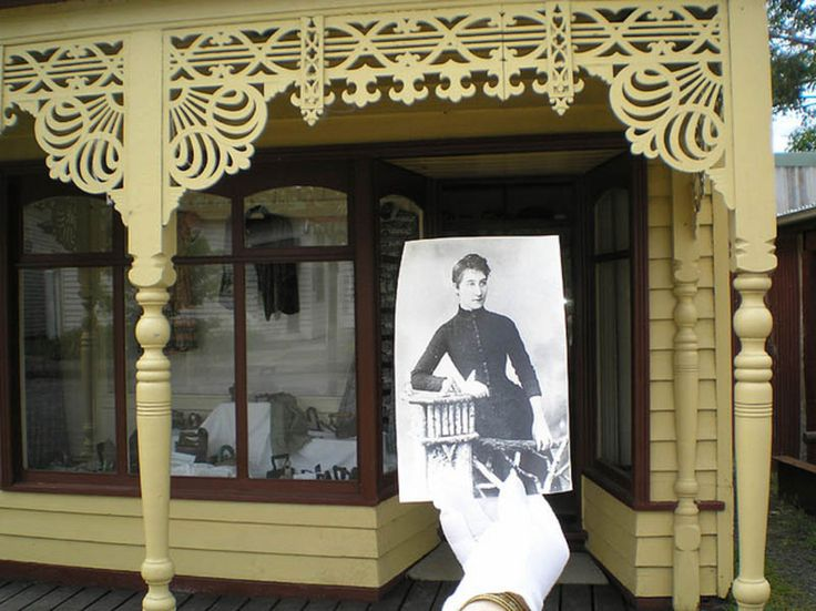 THEN and NOW Sarah Carter, in the doorway of her shop. She was widowed young and established a dressmaking shop in Traralgon. The dressmaker's shop at Old Gippstown was named for her. The shop contains her singer sewing machine