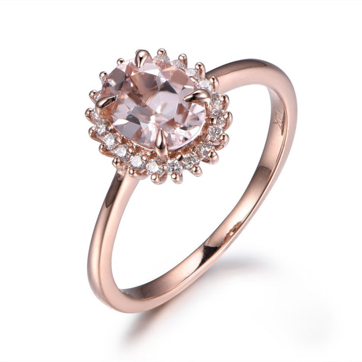 6x8mm Oval Cut Morganite Ring 0.2 carats Diamond Ring Engagement Ring