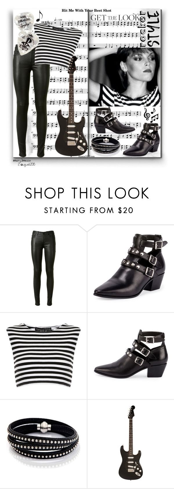 """""""Rocker Chic - Pat Benatar"""" by octobermaze ❤ liked on Polyvore featuring Yves Saint Laurent, Topshop, Sif Jakobs Jewellery, rockerchic and rockerstyle"""