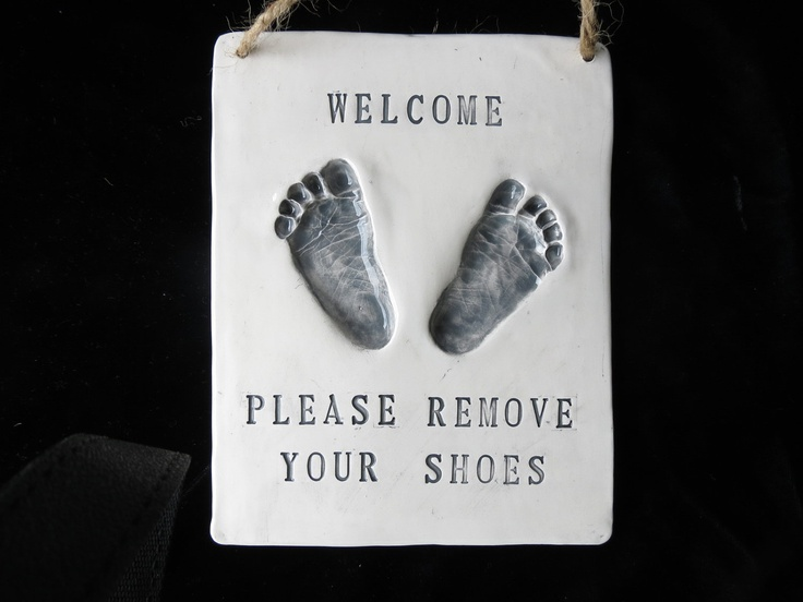 Baby Footprint Please Remove Your Shoes Sign-mold kit included