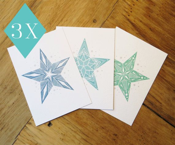Set of postcards blue turkois and green star perfect by EssiDesign