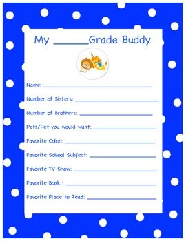 Reading Buddy intro Questionnaire - The Reading Buddies - TeachersPayTeachers.com
