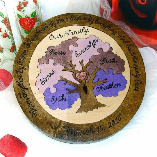 This unity ceremony wedding puzzle is one of my favorites she used her wedding colors for the leaves
