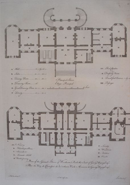 Belz Fine Antique Prints And Art Home Print Categories Architecture Plan Of The Ground Floor Wrotham Park
