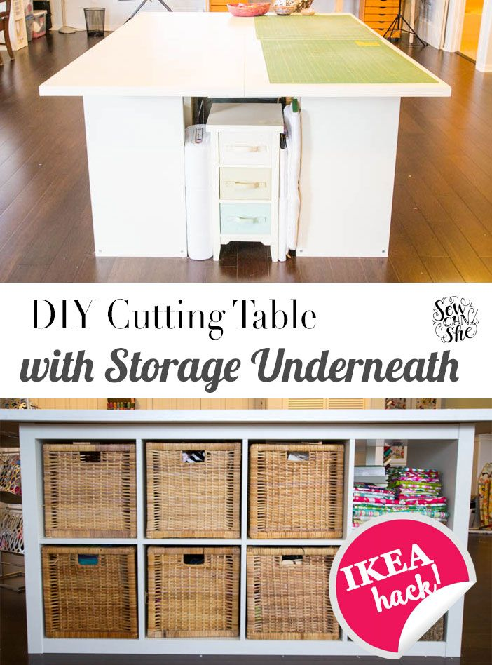 DIY Cutting Table - with storage underneath! — SewCanShe | Free Daily Sewing Tutorials