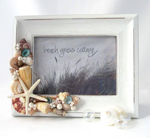 Beach Decor Seashell Frame - Nautical White Shabby Chic Frame w Shells & White Starfish - 8x10