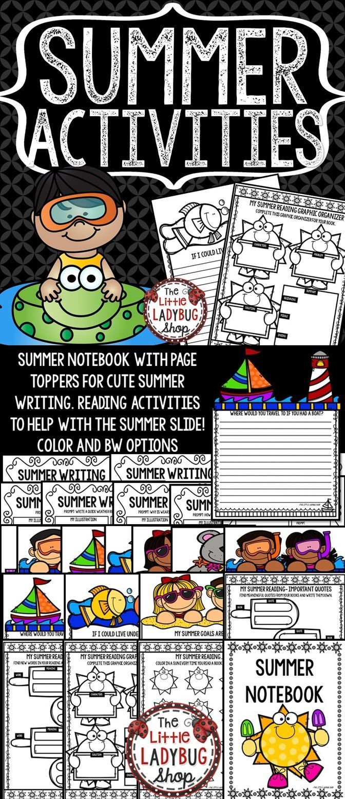 This Summer Activities Packet is a perfect way to get your kiddos to have fun while on Summer Break! There are cute Interactive Writing Prompts with Summer Themed Page Toppers Craftivities, and Cute Reading Response Activities! Your kiddos will be thrilled to take these home over summer break!
