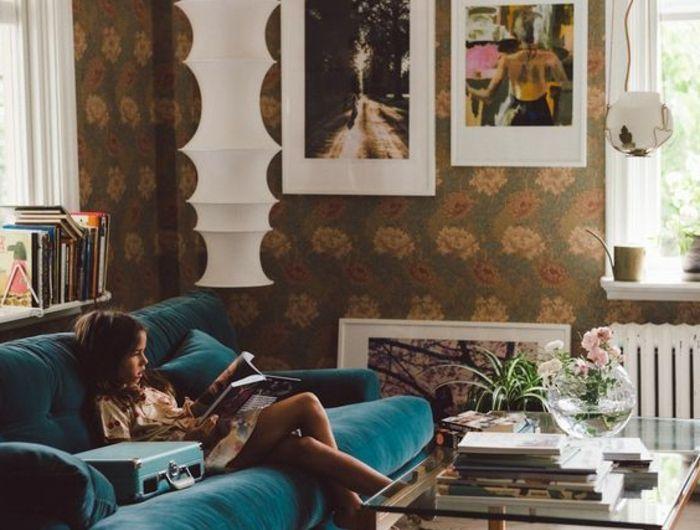 Deco De Salon De Canard Bleu Canape Bleu Moelleux Lampe