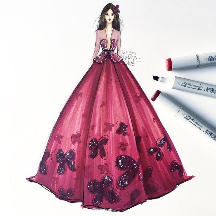 """Merlot maven: base is sketched with ""RV69"" @copicmarker #fallfashion #fashionsketch #couture #hnicholsillustration #copicmarkers #copicart…"""