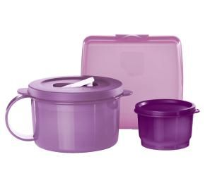 Soup & Sandwich 3-Pc. Lunch Set - Green or Purple  Save $10.25—$23.25 value  $13.00 www.mytupperware.com/karendol    Lunch bunch    Pack a nutritious sandwich, soup and snack for your midday meal. Includes Sandwich Keeper, 2-cup/500 mL CrystalWave® Soup Mug* and 4-oz./120 mL Snack Cup.  • In Honeydew/Midori/Salsa Verde/Snow White. • Dishwasher safe.