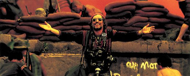 Apocalypse Now (1979) Dennis Hopper's unnamed photojournalist is Kurtz's resident 'mutt'. The Nikon F was the camera of choice for professional photographers in the 1960s and early '70s, but it's quite possible the insane Hopper isn't carrying any film in his. The character is actually based on what might have happened in real-life to Sean Flynn (son of Errol), the daredevil actor and photographer who was kidnapped by Vietnamese communists in 1970, never to be seen again.