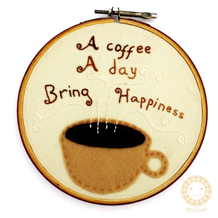 Hoop art~ Coffee quotes 14 cm Store : https://www.instagram.com/mikicraft/