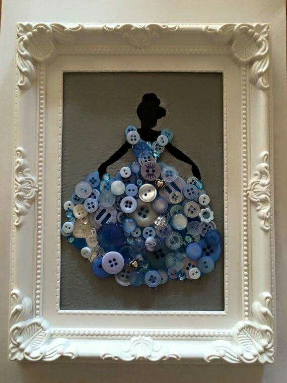 Cinderella siloute with buttons - wall art - Disney - princess