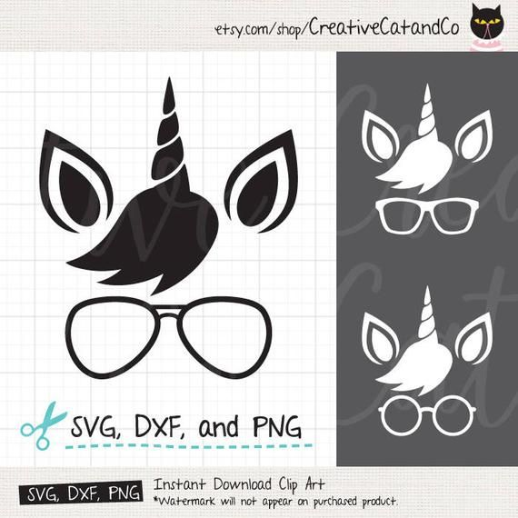 Cute Unicorn Face Svg Dxf Nerdy Unicorn Wearing Glasses