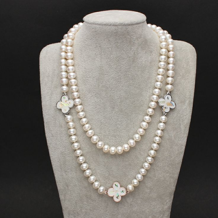 8-9mm Pearl Necklace, Clover ShellsPearl Necklace, Pearl Necklace