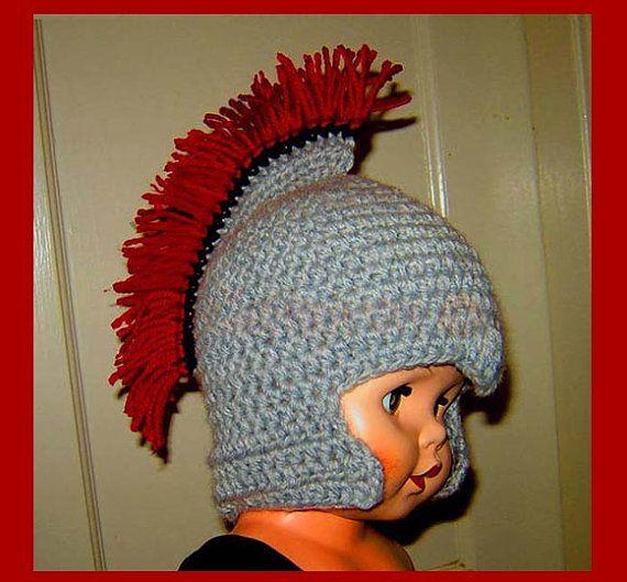 Instant Download crochet Pattern - Roman Soldier Helmet with Plume, Baby-Teenage sizes (PDF77)