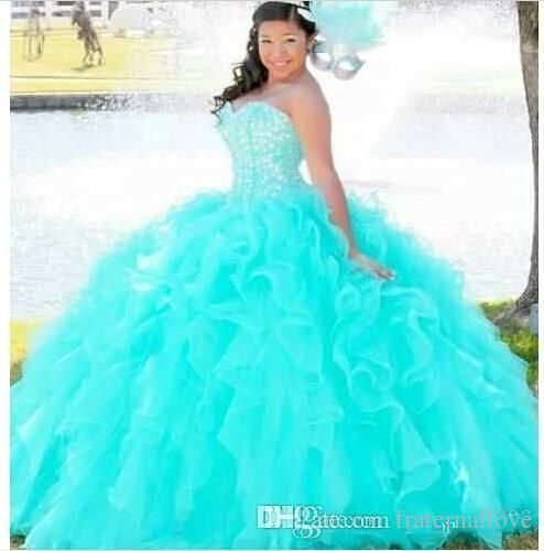 Quinceanera dresses big fluffy turquoise and black