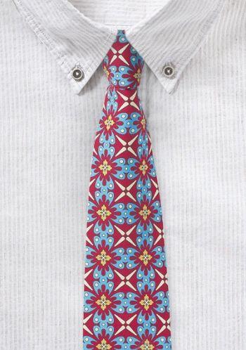 Türkis-rote Krawatte mit frischem Retro-Look