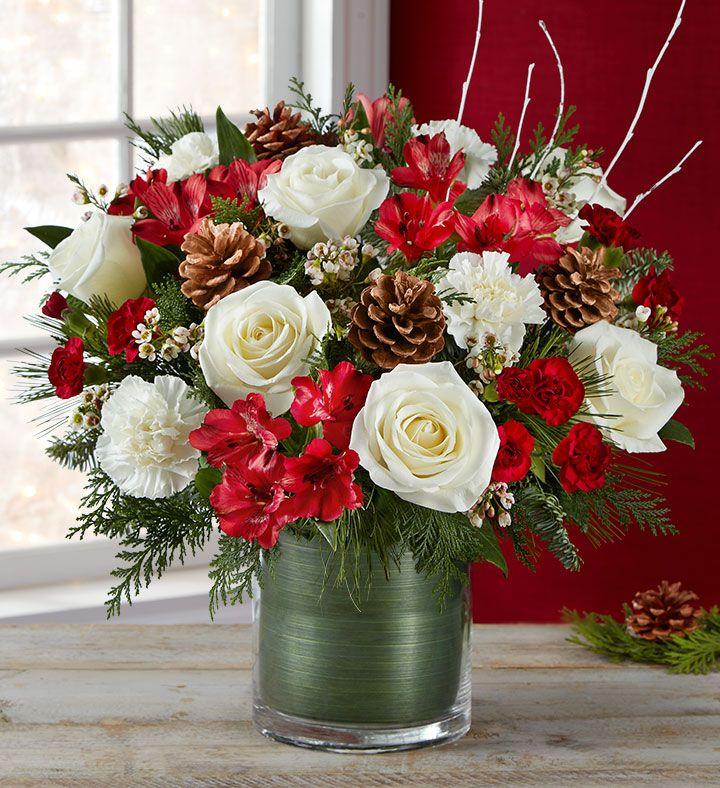Spirit Of The Season Arrangement Christmas Floral Arrangements Christmas Flowers Christmas Flower Arrangements