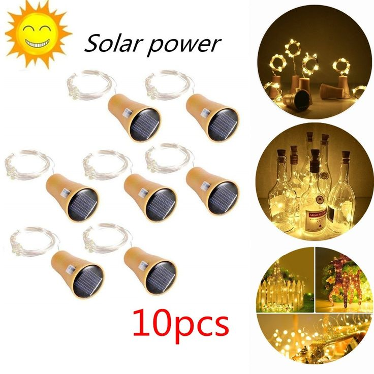 2M <b>20LED Solar Powered</b> Wine Bottle Cork Shaped LED Copper ...
