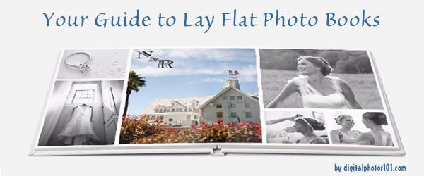 Guide to companies offering lay flat photo books. Info on binding type, paper, sizes, average cost.