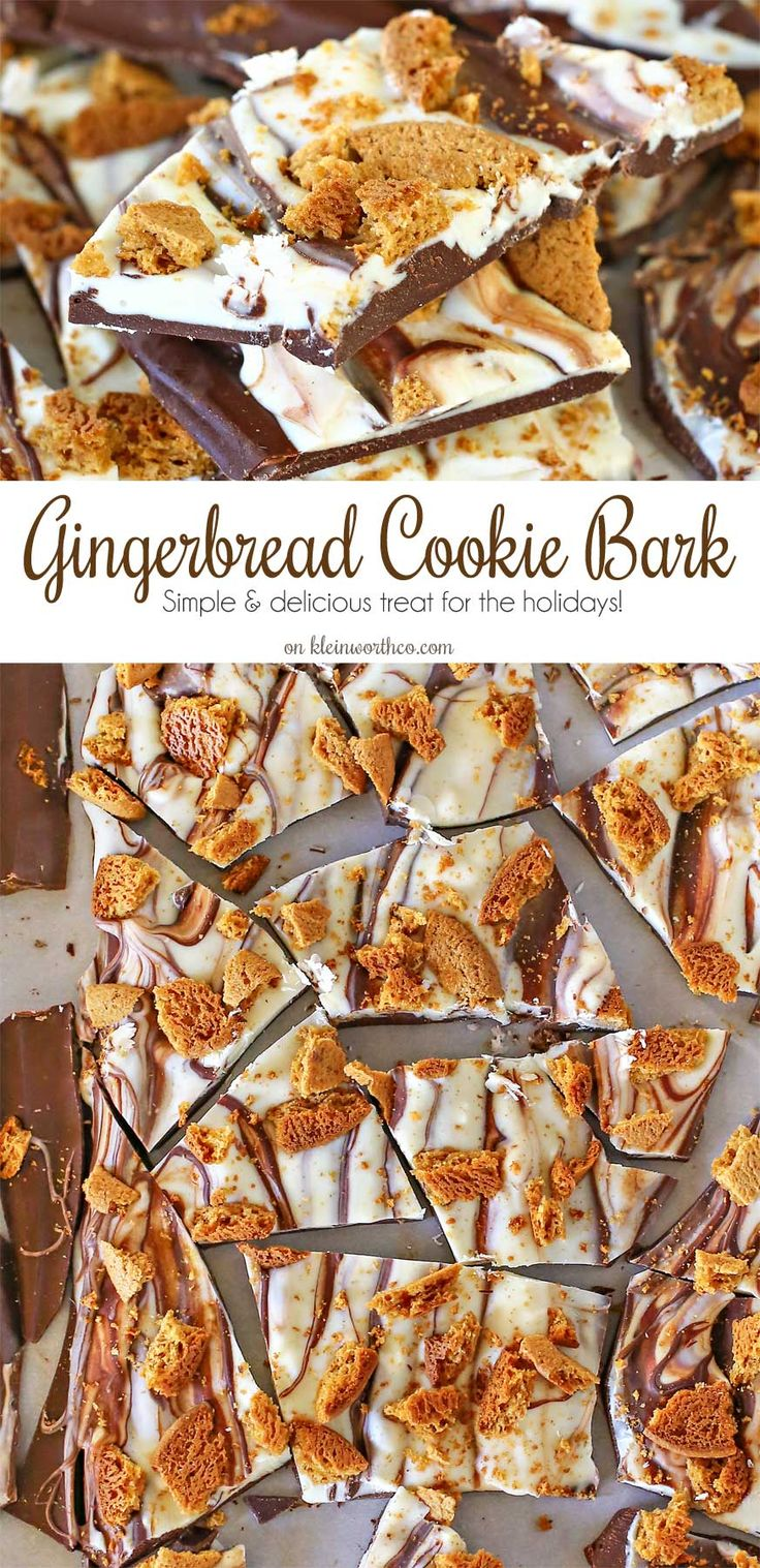 Milk chocolate topped with a layer of white chocolate & gingerbread cookie crumbles makes this easy Gingerbread Cookie Bark that's a wonderful holiday gift. on kleinworthco.com