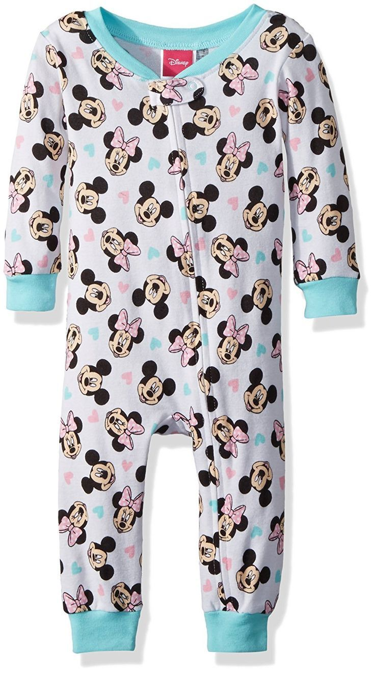 Disney Baby Toddler Girls Minnie Mouse Cotton Non Footed Pajama 100 Polyester Imported Zipper Cl Baby Girl Fall Outfits Baby Girl Pajamas Disney Baby Clothes