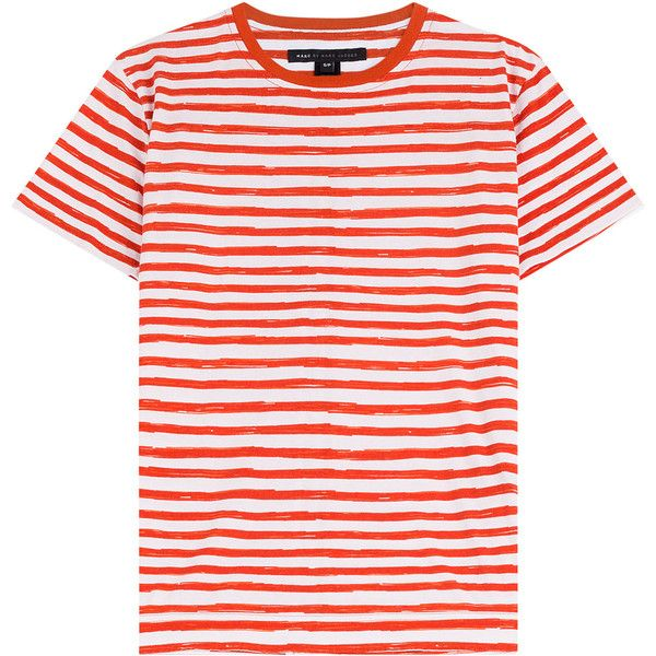 Marc by Marc Jacobs Striped Cotton T-Shirt found on Polyvore featuring tops, t-shirts, shirts, tees, stripes, pink striped shirt, slim t shirt, relax t shirt, t shirts and pink shirt