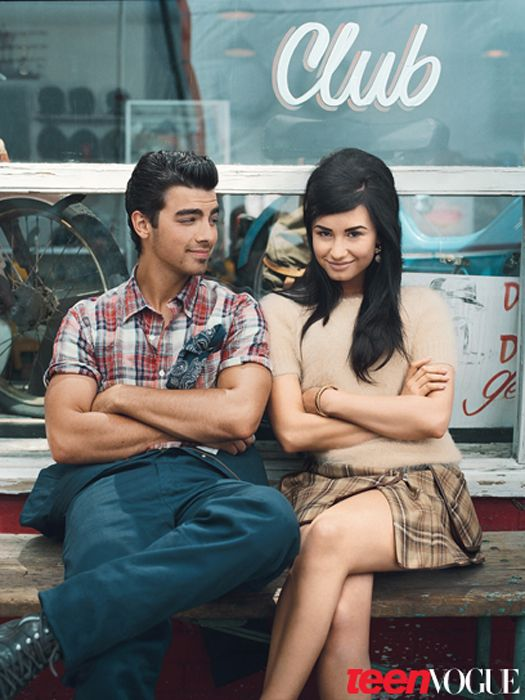 Demi Lovato and Joe Jonas... he annoys me now, but they were adorable together... :P