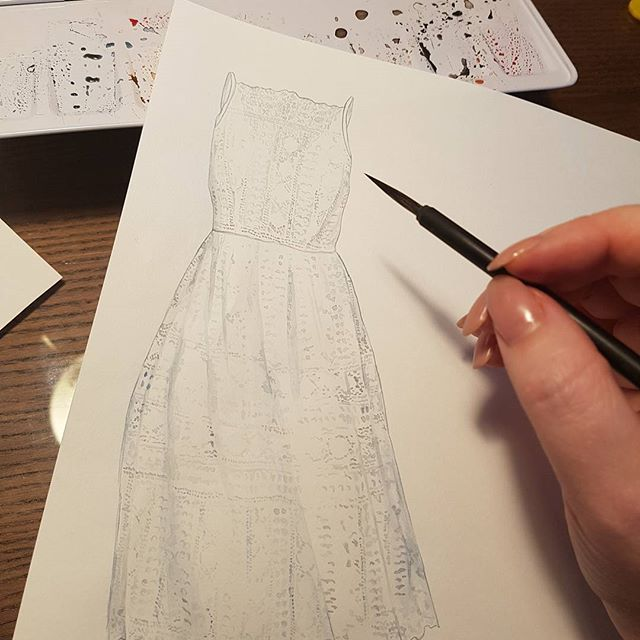 Watercolor by Maria Pirogova @marysimpledesign     Lace material study #colorful #color #draw #design #drawing #drawings #watercolor #watercolorpainting #painting #brush #brushes  #italy #sketches #sketch #sketchbook #watercolorart #art #artist #process #instagood #instapic #instaphoto #illustration #runway #fashion #dress #marysimpledesign #trend