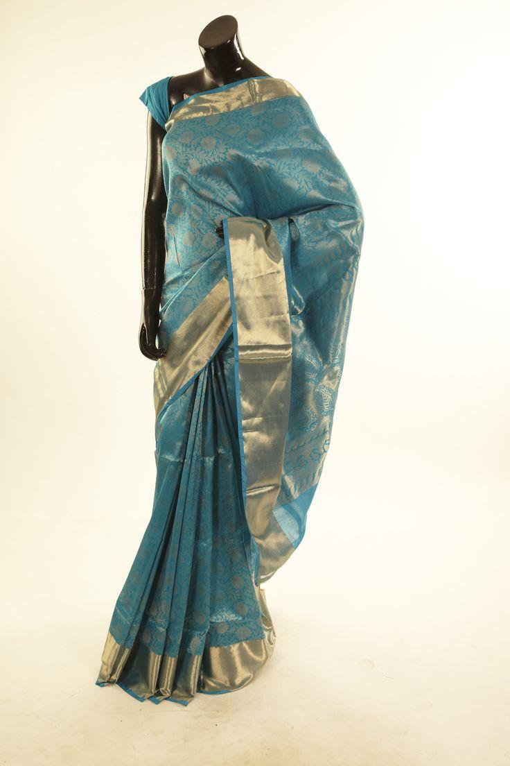 Banarsi- silk dark sapphire aqua blue saree with blouse - Sarees