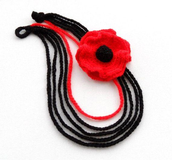 Crochet Necklace Crochet Chain Necklace Red by CraftsbySigita
