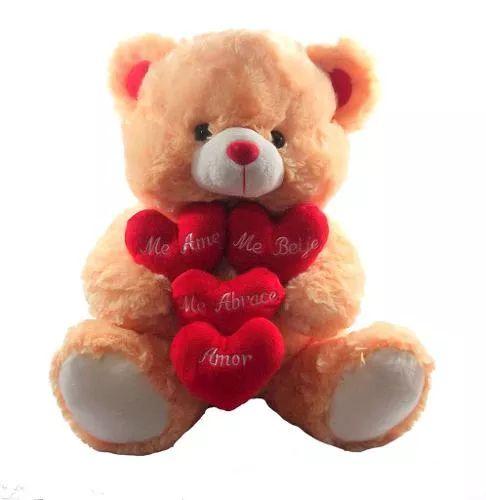 urso corações com frases pelúcia dia dos namorados presente