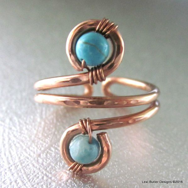 Hand crafted 14 gauge solid copper wire wrap boho style ring with turquise beads. This ring is adjustable and can be worn as a finger ring or toe ring. Sizes available 6-12