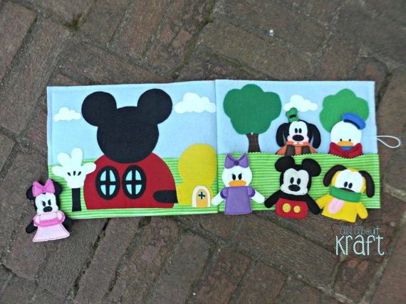 Clubhouse friends quiet felt board puppet book, mouse puppets, clubhouse puppets, take along play, finger puppets