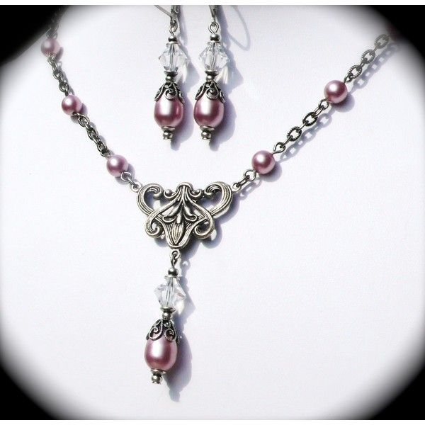 Powdered Rose Pink Pearl Bridal Jewelry SET, Earrings and Necklace,... (72 CAD) ❤ liked on Polyvore featuring jewelry, earrings, pink swarovski crystal earrings, wedding jewelry, bridal jewellery, pearl jewellery and pink pearl earrings
