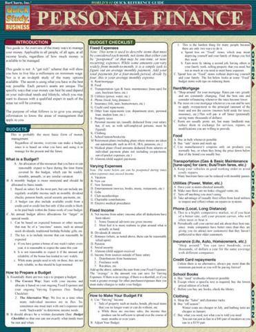 Personal Finance Laminated Reference Guide An overview of the many ways to manage your money. Great for people of all ages and at all income levels. 4-page laminated guide includes: • preparing budget