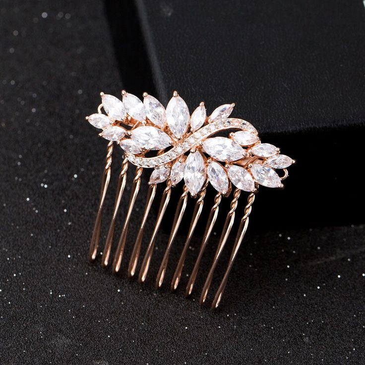 Rose Gold Plated Wedding Hair Comb Jewelry Cubic Zirconia Bridal Hair Accessories Headpiece Women Hair Combs