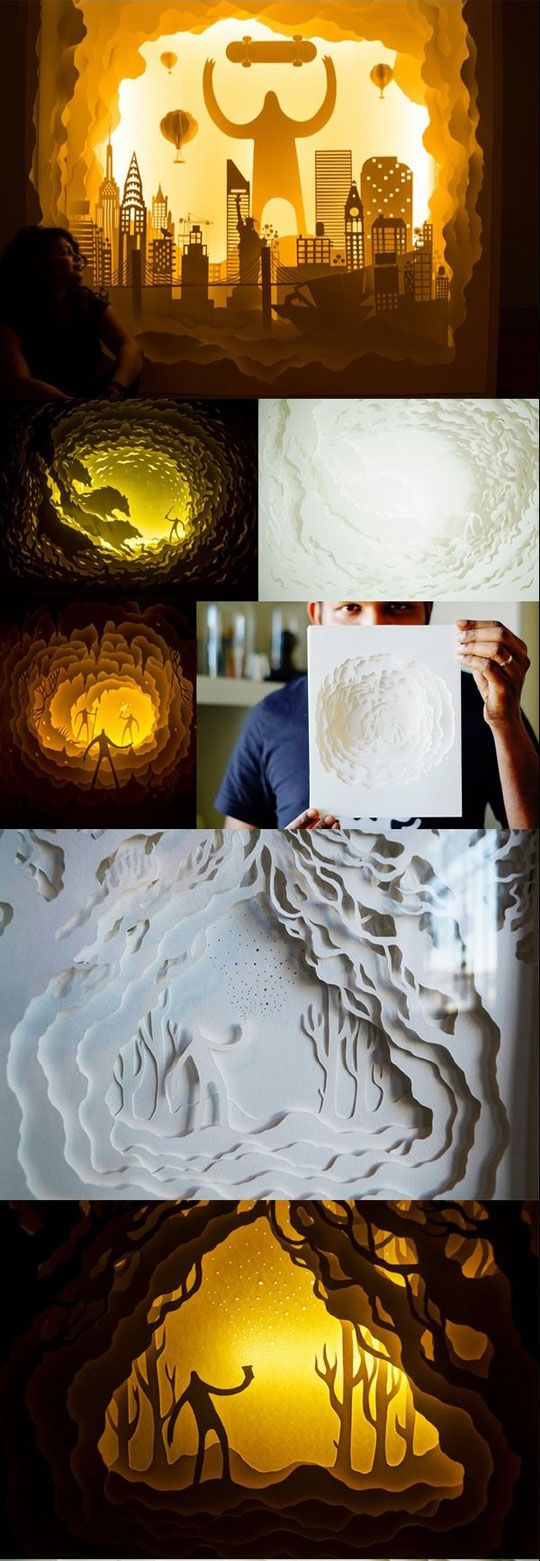 Beautiful Illuminated Paper Cut Light Box Dioramas. I would love to make one of these.