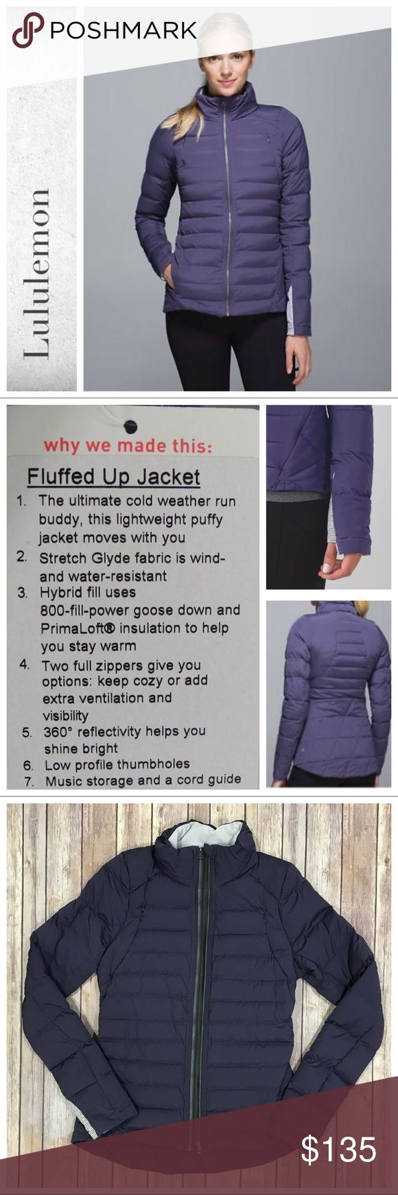 """Lululemon Fluffed Up Jacket Nightfall - stock photos best depiction of color. Excellent condition. Riptag removed. Tag pic shows Jacket details only. Measures 19"""" across pit to pit zipped without showing reflective strip add approx 1"""" if zipped to show reflective strip. No trades. Price firm. lululemon athletica Jackets & Coats"""