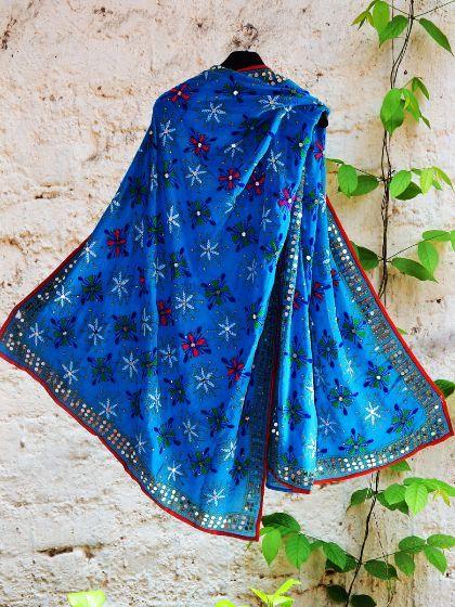 Shop Online #Handembroidered Blue #phulkari #dupatta #phulkaridupatta #punjabi