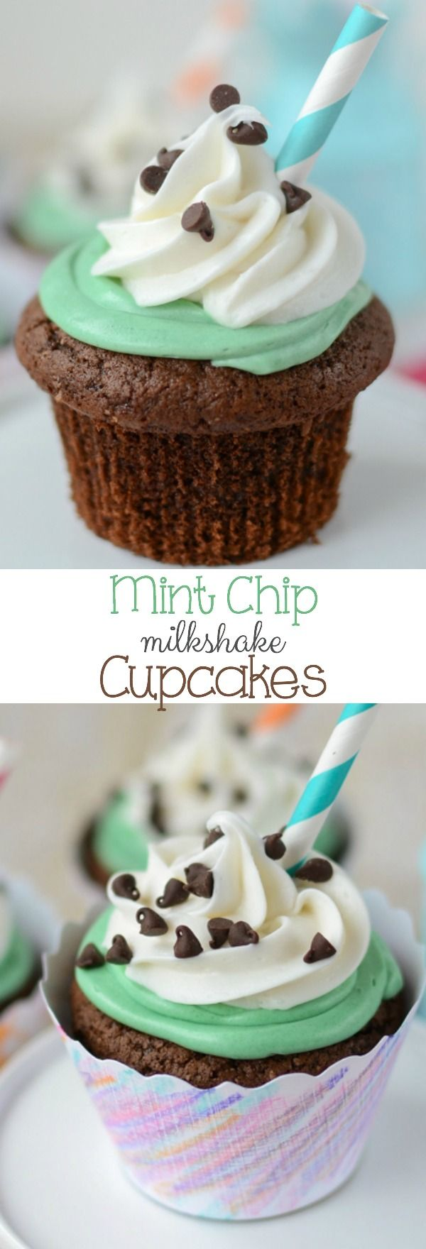 Mint Chip Milkshake Cupcakes - these cupcakes are so fun to create and they're so easy your kids can help!