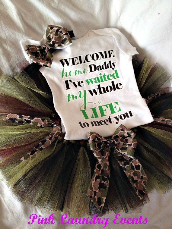 Welcome Home Daddy Camouflage Tutu Outfit includes Tutu, Onesie, and Headband for  Baby Girl