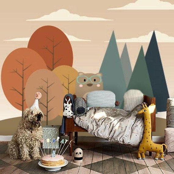 Bear in the forest, self-adhesive wallpaper, removable wallpaper, wall decor, kids wallcovering, nursery cute mural, scrub & stick # 130