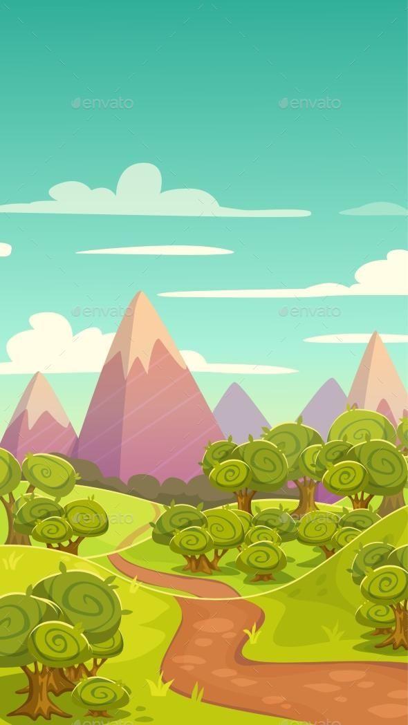 Cartoon Vertical Nature Landscape Nature Vector Vertical Landscape Illustration Artwork