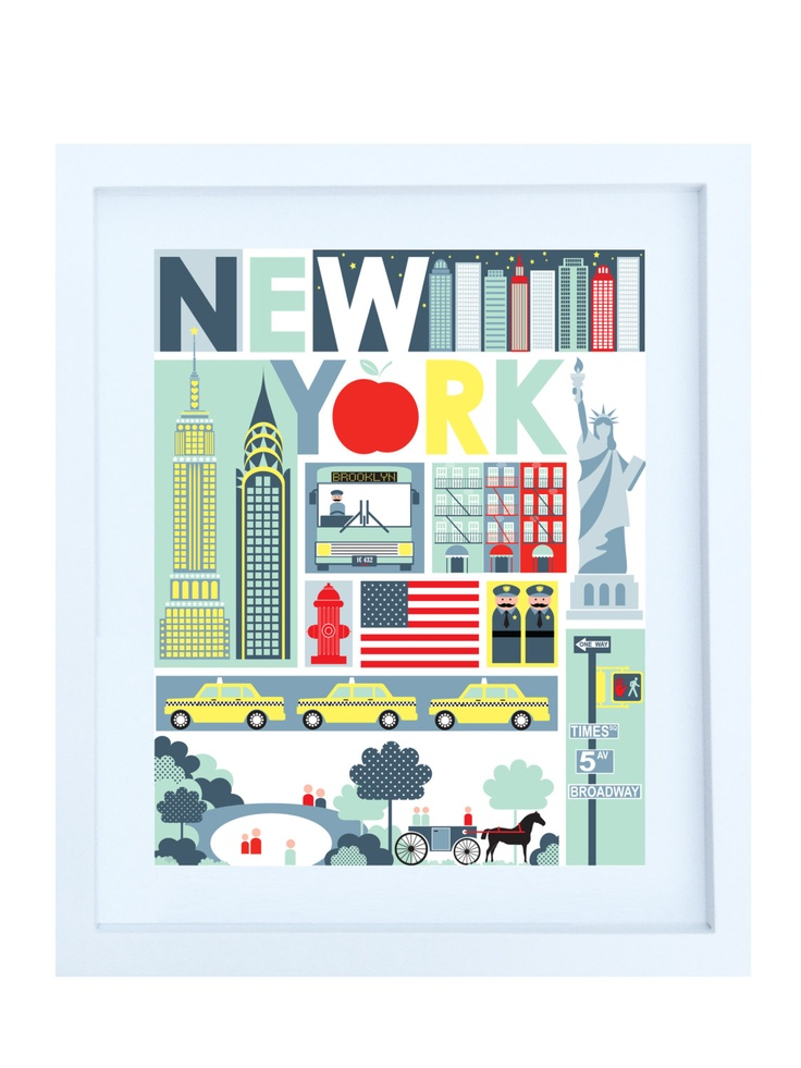 New York Poster, 8x10, Quirky Ilustration. $20,00, via Etsy.
