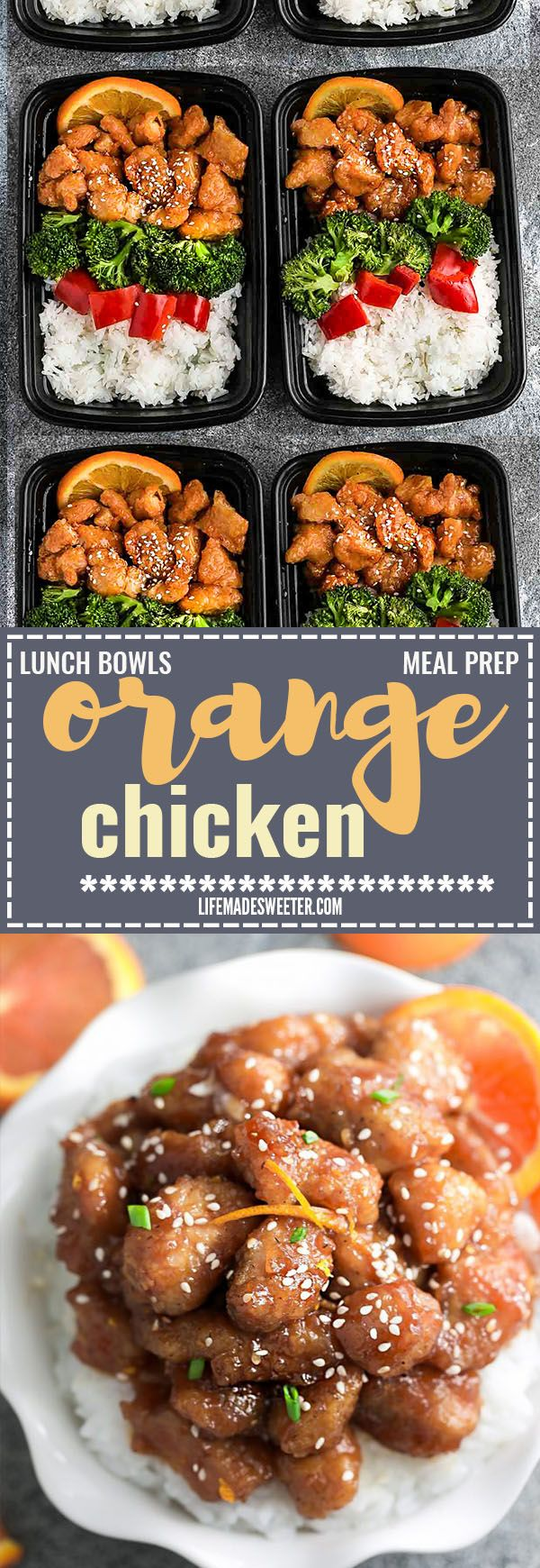 Slow Cooker Orange Chicken Meal Prep Lunch Bowls - coated in a citrus sweet & savory sauce that is even better than your local takeout restaurant! Best of all, it's full of authentic flavors and super easy to make with just 15 minutes of prep time. Skip that takeout menu! This is so much better and healthier! Weekly meal prep for the week and leftovers are great for lunch bowls for work or school.
