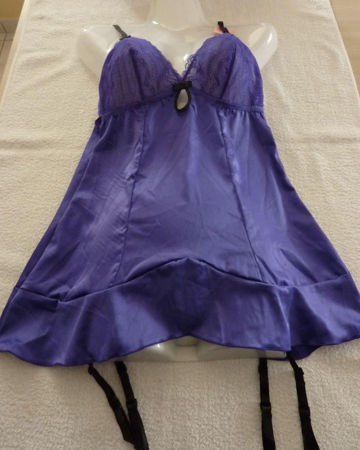Nuisette femme violet lingerie jarretelle Taille S neuf