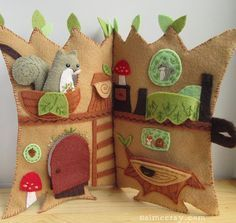 DIY Squirrel's Happy Tree Home felt tree house quiet book- by Aimee Ray, Pattern available at www.littledear.etsy.com