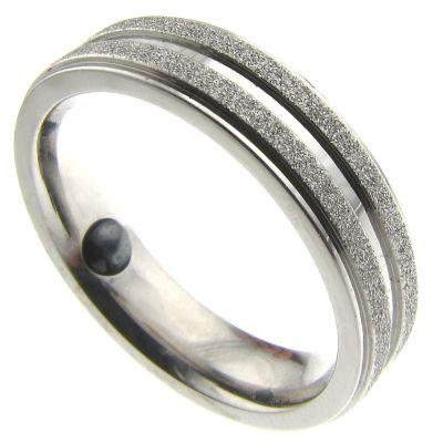Par de Alianças Sempre Jóias em Aço Cirúrgico Diamantada Magnética - 5mm - 1589